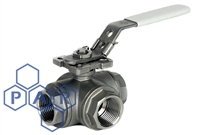 Three Piece Ball Valve - 'L' Port Female BSPT